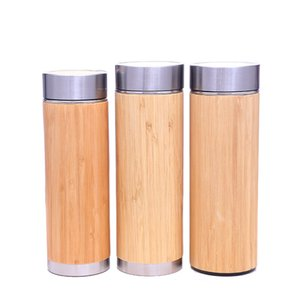 Wholesale Bamboo Stainless Steel Water Bottle Insulated Vacuum Cup Coffee Tea Bottle With Tea Infuser Strainer ML Wooden Bottle