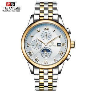 TEVISE Automatic Mechanical Watches Men Self Wind Luxury Moon Phase Stainless Steel Luminous Calendar Wristwatches 9008 C18111601