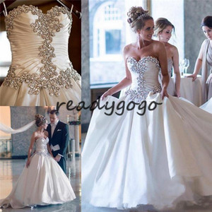 Wholesale crystal beaded corset princess wedding dress resale online - Crystal Beaded Strapless Corset Wedding Dresses Matte Stain Cathedral Train Plus Size Royal Princess Church Wedding Gown