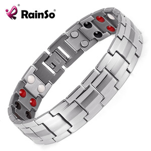 Wholesale titanium magnetic bracelets for sale - Group buy Rainso Fashion Jewelry Healing FIR Magnetic Titanium Bio Energy Bracelet For Men Blood Pressure Accessory Silver Bracelets