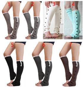 Wholesale Long Fastener Button Charm Lace Socks Boot Socks loose Socks Stockings Leg Warmers Autumn Winter for Women Chritsmas Gifts Drop Shipping