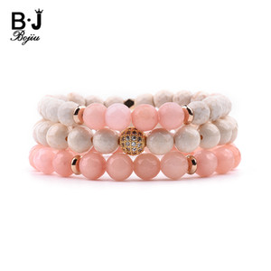 Wholesale BOJIU Set Natural Stone Bracelets For Women White Pink Stone Gold Round Cubic Zircon Ball Copper Nuggets Bracelet Gift