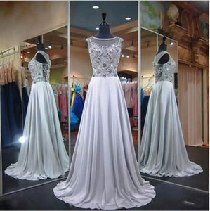 Wholesale Beaded Jewel Neck Prom Dresses Sleeveless Lace Beaded Applique Sweep Train Formal Evening Dresses Wear Long Party Gown