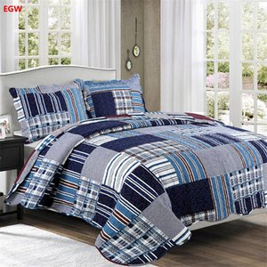 Wholesale Home textile bedspread pillowcase set gray black flower patchwork quilt blue pink grid bed cover American outlet bedding