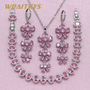Wholesale whole saleExquisite Flower Red Pink Stone Silver Jewelry Sets For Women Wedding Earrings Bracelet Pendant Necklace Free Gift Box