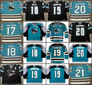 San Jose Sharks 17 PAT FALLOON 18 MIKE RICCI 19 JOE THORNTON 19 MARCO STURM 20 ED BELFOUR 20 EVGENI NABOKOV CCM NHL Hockey Jersey stitched on Sale