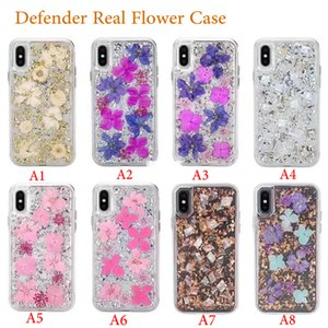 Defender Case with Real Flower For iPhone X XR Xs Max 7 8 Plus 6 6S Plastic Back Cover TPU Frame For Samsung S10 S10e S10 + S9 Plus S9 Shell