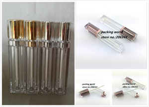 8ml square shape transparent lip gloss color cream tube lip balm tube or lip stick with gold silver top plastic stopper inside