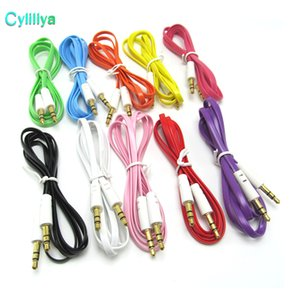 Wholesale colorful flat noodle mm aux audio auxiliary cable jack Male to Male Plug stereo Cord Wire for iphone
