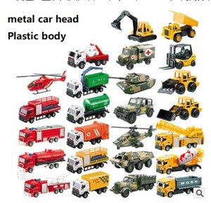 Wholesale Kids metal truck mold pull back fire truck rescue vehicle container transport vehicle mini cartoon car models toys gifts