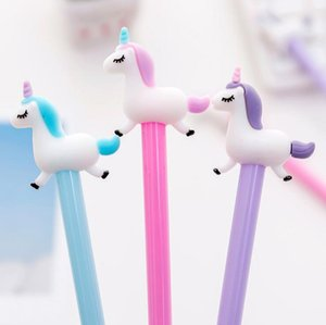 0.38 mm Black Ink Jumping Unicorn Gel Pen Signature Pen Escolar Papelaria School Office Supply Promotional Gift
