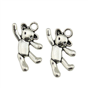 10pcs Dancing Bear Charms Cute Bear Charm Kawaii Antique Silver Charms Jewelry Making Accessories Wholesale 10x19mm