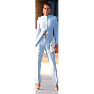 light blue womens business suits female office uniform formal pant suits for weddings ladies trouser suit Jacket+Pants