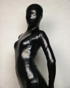 Wholesale Wet look Black Full Body Spandex lycra Latex Rubber Zentai Cosplay Bodysuit Adult Size