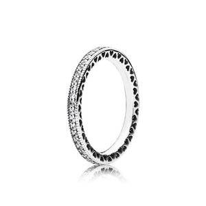 Real Silver Womens Diamond Ring with Original box Fit Pandora Style Charm 925 Sterling Silver Ring Valentine's Day Gift