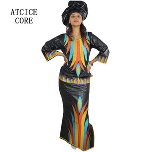 african bazin riche embroidery design dress top with dresses three pcs one set LB063#