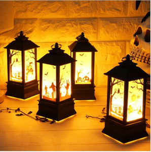 Wholesale 2018 Halloween Vintage Pumpkin Castle Light Lamp Party Hanging Decor LED Lantern Party Supplies Cult Horror ghost Witch Hanging Lantern