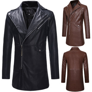 Wholesale Hot Sale New Casual Winter Men Leather Slim Fit Jacket Fashion Long Sleeve Solid Color Male long Coat