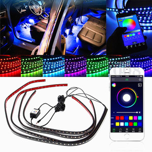 Wholesale 4x RGB LED Car Lights Decorative Lamp Tube Strip Light Underglow Undercar Music App Control Kit WireLess Black Shell Waterproof