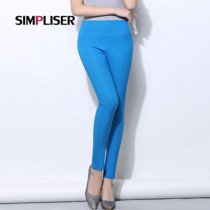 Wholesale SIMPLISER High Stretch Women Leggings candy color female Skinny Pencil Pants Black White Plus Size xl xl womens trousers
