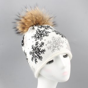 Women Rabbit Hair Racoon Dog Warm Beanies Snowflake Ball Top Drill Wind Proof Cap Outdoor Travel Winter Knitted Hat 39ls ff