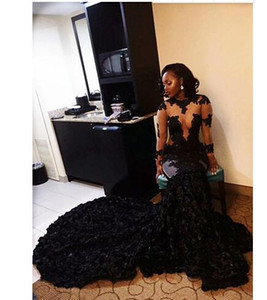 African Black Prom Dresses Mermaid Sheer Neckline Appliques Long Sleeves Evening Dress Long Sweep Train arabic dresses dubai Party Gowns