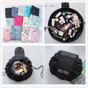 2018 Lazy Vely Vely Portability Magic Travel Pouch Cosmetic Bag 7 Styles Portable Drawstring Large Capacity Makeup Organizer Storage Bags