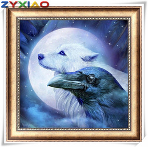 Rhinestone full round&square diamond embroidery animal wolf eagle 5D diy diamond painting cross stitch kit home mosaic decor gift toy AA0631