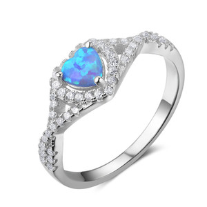 Wholesale Opal Rings Unique Australian Blue Fire Opal Heart Cut Genuine Sterling Silver Ring Lady Jewelry Gift Chinese jewelry
