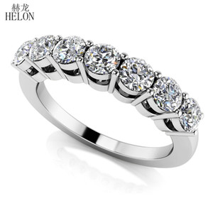Wholesale HELON Solid 14K White Gold Moissanites Ring 0.7CT GH Color Engagement RingTest Positive Moissanites Band Diamond Wedding Jewelry