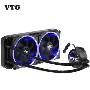 Wholesale New VTG240 Liquid Freezer Water Liquid Cooling System CPU Cooler Fluid Dynamic Bearing mm LED Light PC Case Cooling Dual Fans