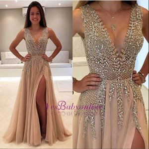 Wholesale Sexy Deep V Neck Champagne Prom Dresses High Side Split Sequined Beads Applique Chiffon Floor Length Dresses Evening Wear Formal Gowns