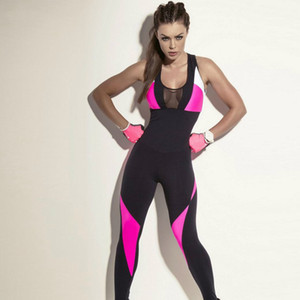 Wholesale Women Sport Jumpsuit Fitness Tight Pants Yoga Dance Running Exercise Splicing Sexy Breathable Anti Sweat Quick Dry High Elastic