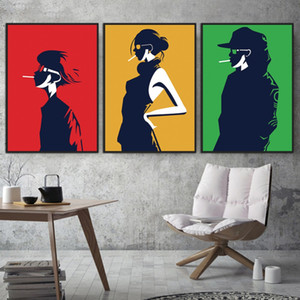 Wholesale WARMSUN Modern Boy Woman Man Shadow Canvas Painting HD Wall Art Poster Prints For Living Room Bedroom Home Decoration No Frame