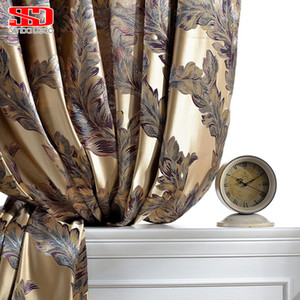 Wholesale Luxury Blackout Curtains For Living Room Peacock Feather Blinds Jacquard Drapes For Bedroom Chinese Window Shading Ready Panels