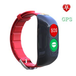 Wholesale Elderly Red Smart Wristbands Fall Down Alarm Anti Lost Smart Bracelet GPS SOS Wristband for Elderly Kid Heart Phone Call