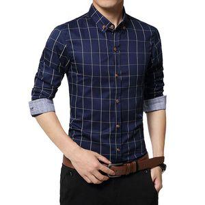 2018 New Autumn Fashion Brand Men Clothe Slim Fit Men Long Sleeve Shirt Plaid Cotton Casual Shirt Size 5XL