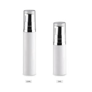 5ml 10ml Empty Cosmetic Airless Pump Lotion Bottle Mini Refillable Beauty Container with pump clear cap F567