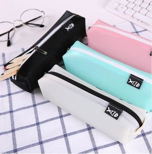 MINUSONEESLITE Kawaii Student Pencil Case For Girls School Leather Box Black Kids Silicone Cute Pencils Cases Boys Fashion Pen