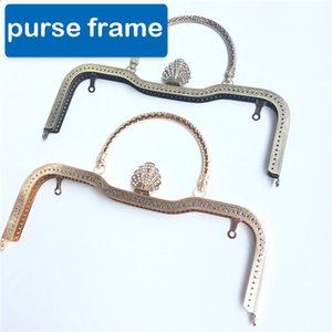 Wholesale DIY peacock feather diamond buckle design women handbag purse frame metal clasp bronze golden color
