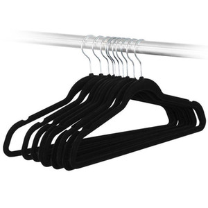 Wholesale Non slip non marking flocking hangers Adult household hanging black hangers can be rotated CM shoulder wide clothes