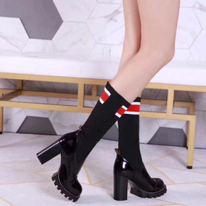 Wholesale Newest CM High heels Knit Sock Boots Fashion Designer Women s Evening Party Boot Patent Leather Shoes Boots With Box Size