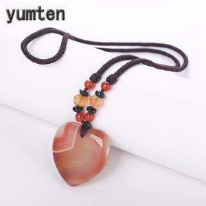 Wholesale Yumten Classic Women Long Necklaces Agate Gem Chain Heart Power Ornaments Sweater Chain Red Beaded Black Spacer Bag Rope Chains