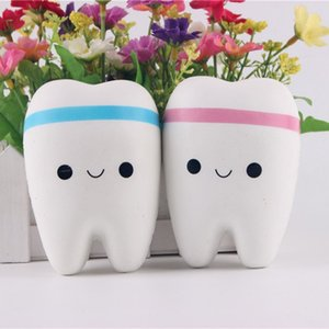 Wholesale 11CM Squishy Novelty Toy Squishy Tooth Slow Rising Kawaii Soft Squeeze Cute Cell Phone Strap Toys Kids Baby Gift Random Color