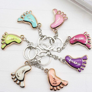 Wholesale 100pcs Cute Mini Foot Shaped Keychains Love Keyrings for Baby Shower Baptism Gifts Giveaway Souvenirs