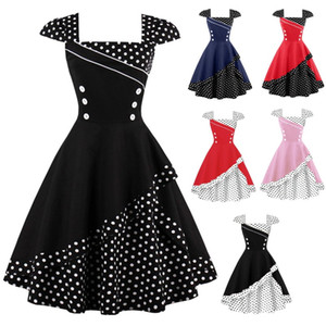 Wholesale polka dots dresses for sale - Group buy S XL Plus Size Women Patchwork Polka Dot Vintage Dress Rockabilly Retro Polka Dots Button Vestidos Hepburn s s Party Dresses FS1506