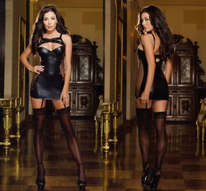Wholesale Hot Sexy Leather Lingerie Stripper Wear Black Latex Cat Costume Erotic Catsuit Pvc Beyonce Dress Sex Suit Halloween Costumes Y18102206