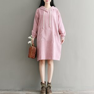 Wholesale Lady Pink Hoodies Dress New Autumn Winter Women Full Sleeve Hooded Corduroy Dresses with Pockets