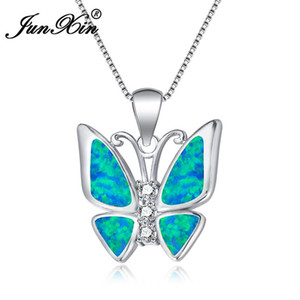 Wholesale JUNXIN Vivid Blue White Fire Opal Butterfly Pendants Necklaces For Women Sterling Silver Filled White Zircon Necklace Gift