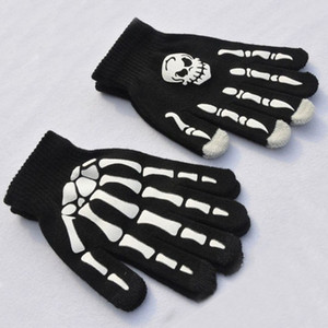 Halloween Skull Skeleton Gloves Punk Black Dancing Ghost Gloves Hip Hop Finger Glove Halloween Decoration Party Gifts 2 Styles H922Q